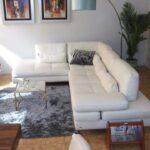 Serena Sofa de Canto em Pele Branco com Sistemas Reclinaveis no Enosto e Bracos
