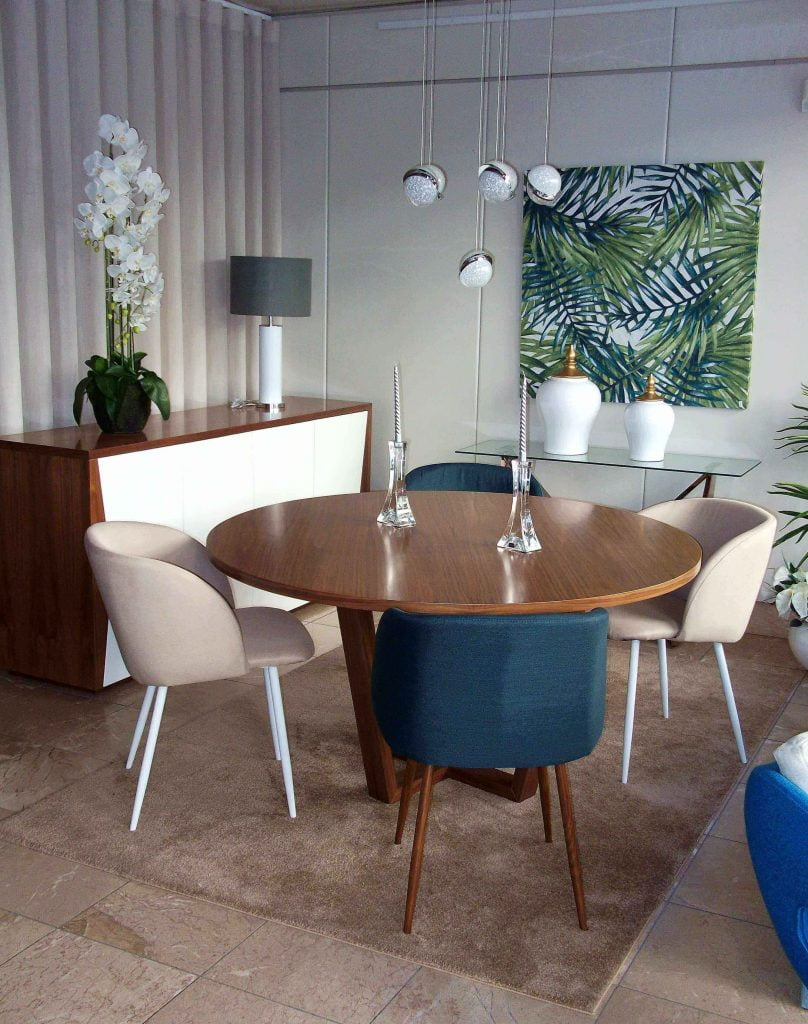 Sala de Jantar Móveis por Medida -Mesa de Jantar Redonda Cruzada - ref MesaJ003 (3)