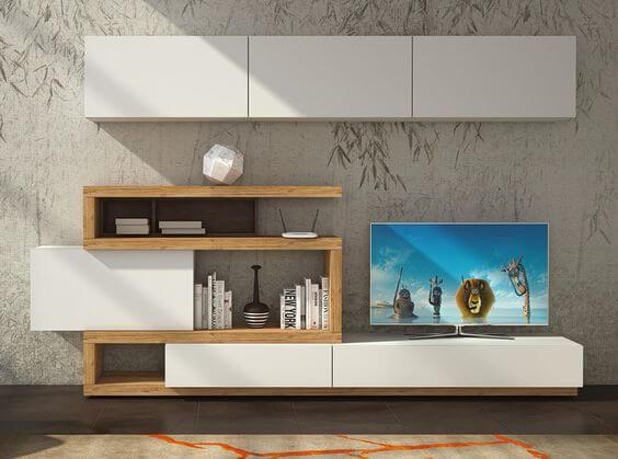 Curvas Estante e Móvel Tv - Móveis Sala de Estar por Medida Crispalmóvel