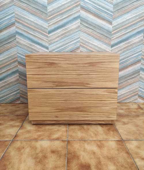 Campina Mesa de Cabeceira carvalho cor mel com duas gavetas grandes Crispalmovel 2