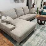 Chaise lounge Tecido Bege com chaise lado esquerdo Bimba 1