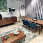 Conjunto Sala de Jantar Jota com Mesa de Jantar Retangular Extensivel de pontas curvas Aparador e 4 Cadeiras 1