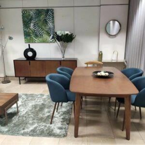 Conjunto Sala de Jantar Jota com Mesa de Jantar Retangular Extensivel de pontas curvas Aparador e 4 Cadeiras 3