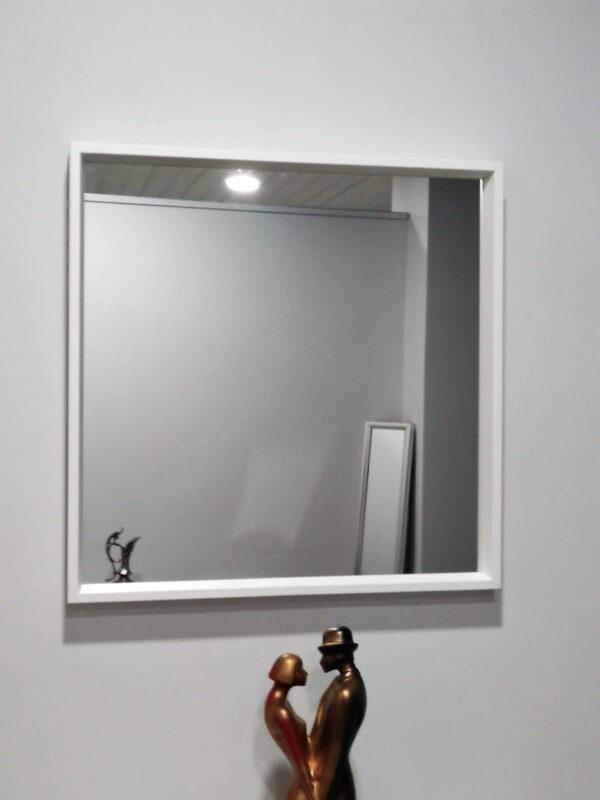 Espelho Quadrado Moldura Branca 1