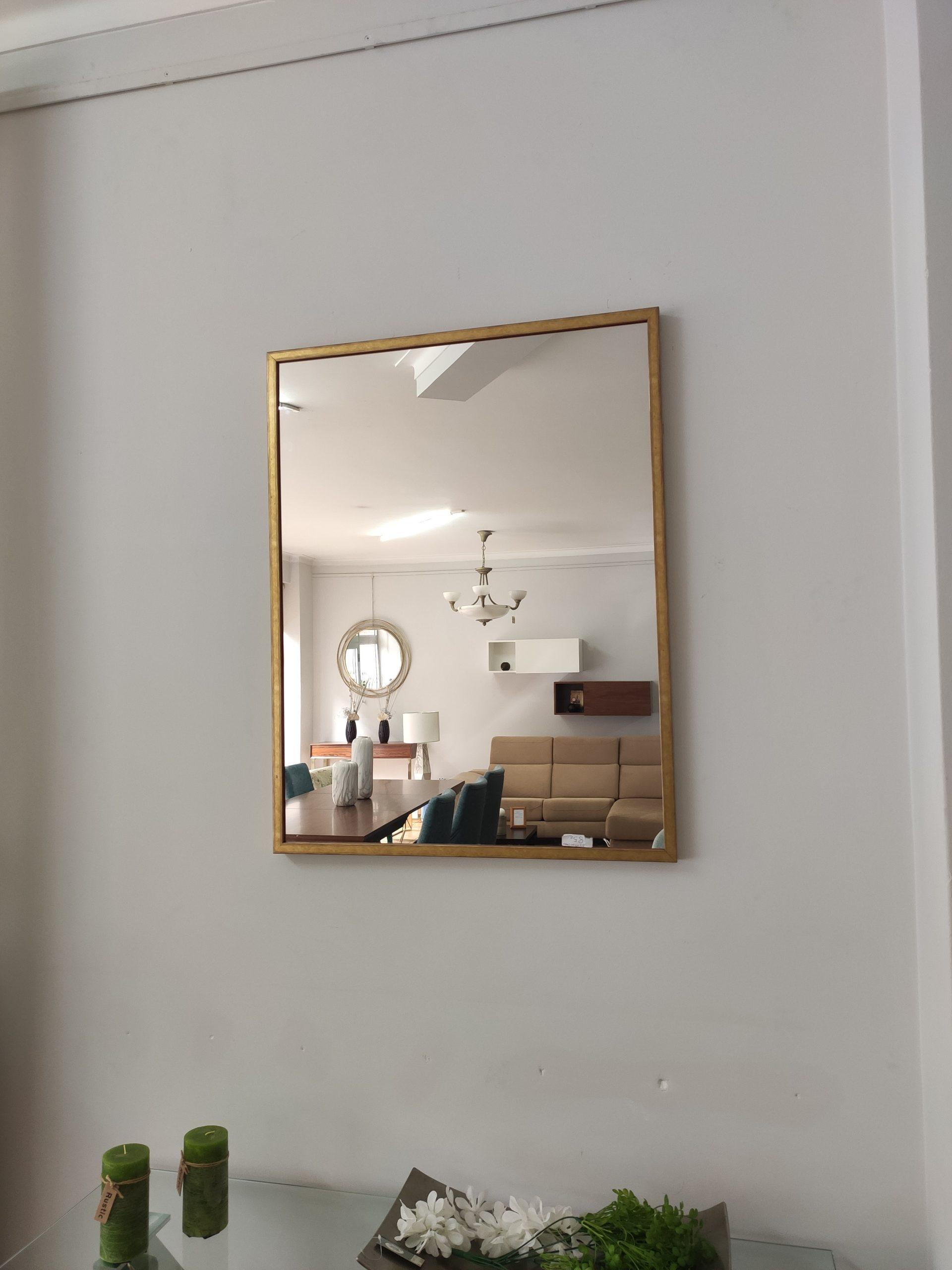 Espelho Rectangular Moldura Madeira Dourada 2 scaled