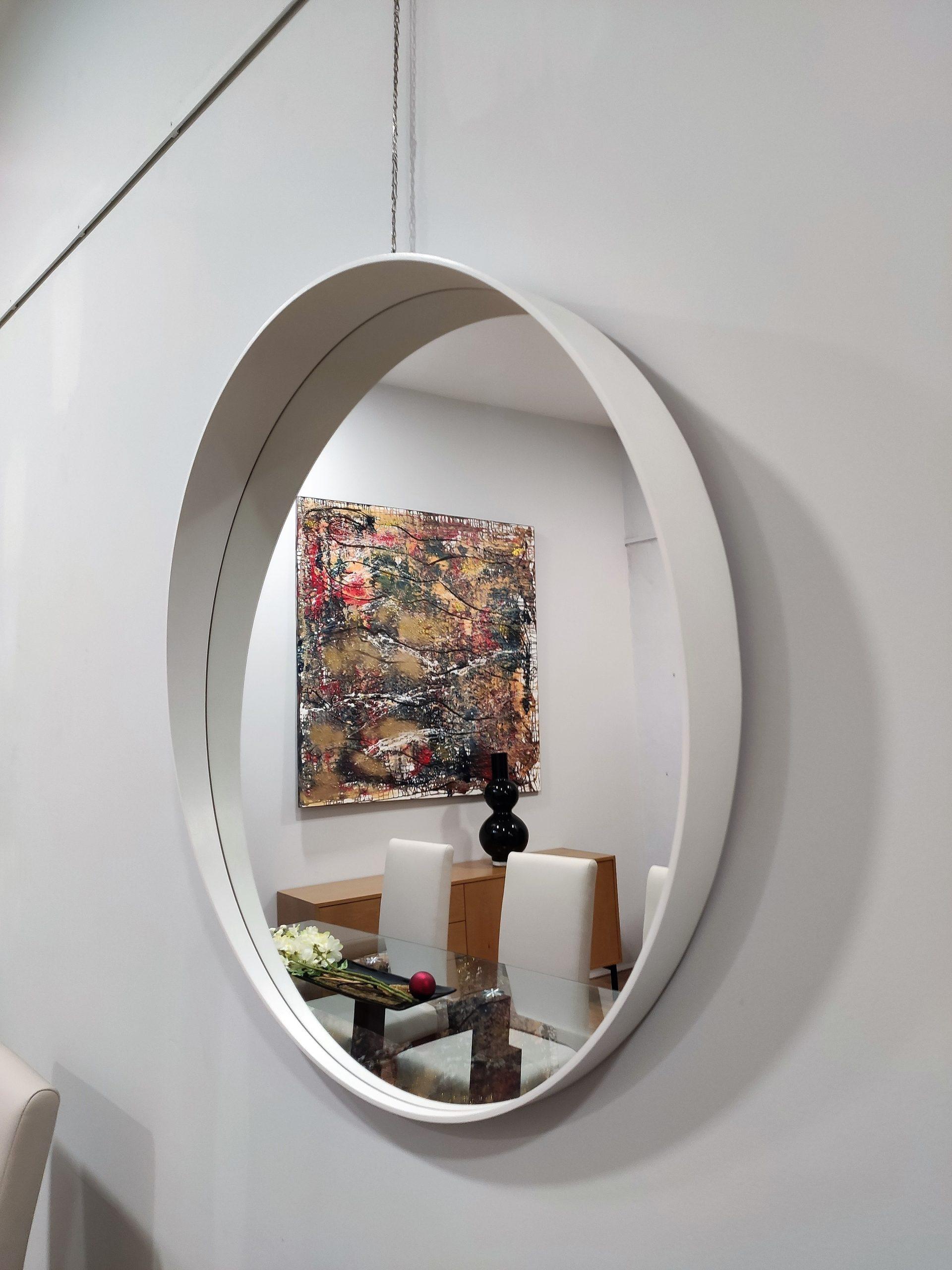 Espelho Redondo com Faixa Branca Orea scaled