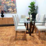 Mesa de Jantar Vidro Will com Tampo em Vidro e Pes cruzados em Carvalho cor chocolate 4 scaled