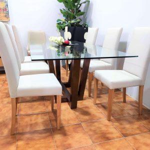 Mesa de Jantar Vidro Will com Tampo em Vidro e Pes cruzados em Carvalho cor chocolate 5