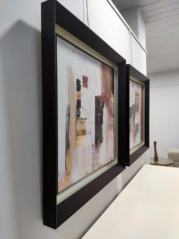 Quadro Quadrado Pintado Abstrato Com Moldura 1 scaled
