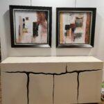 Quadro Quadrado Pintado Abstrato Com Moldura 2 scaled