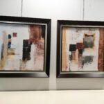 Quadro Quadrado Pintado Abstrato Com Moldura 3 scaled