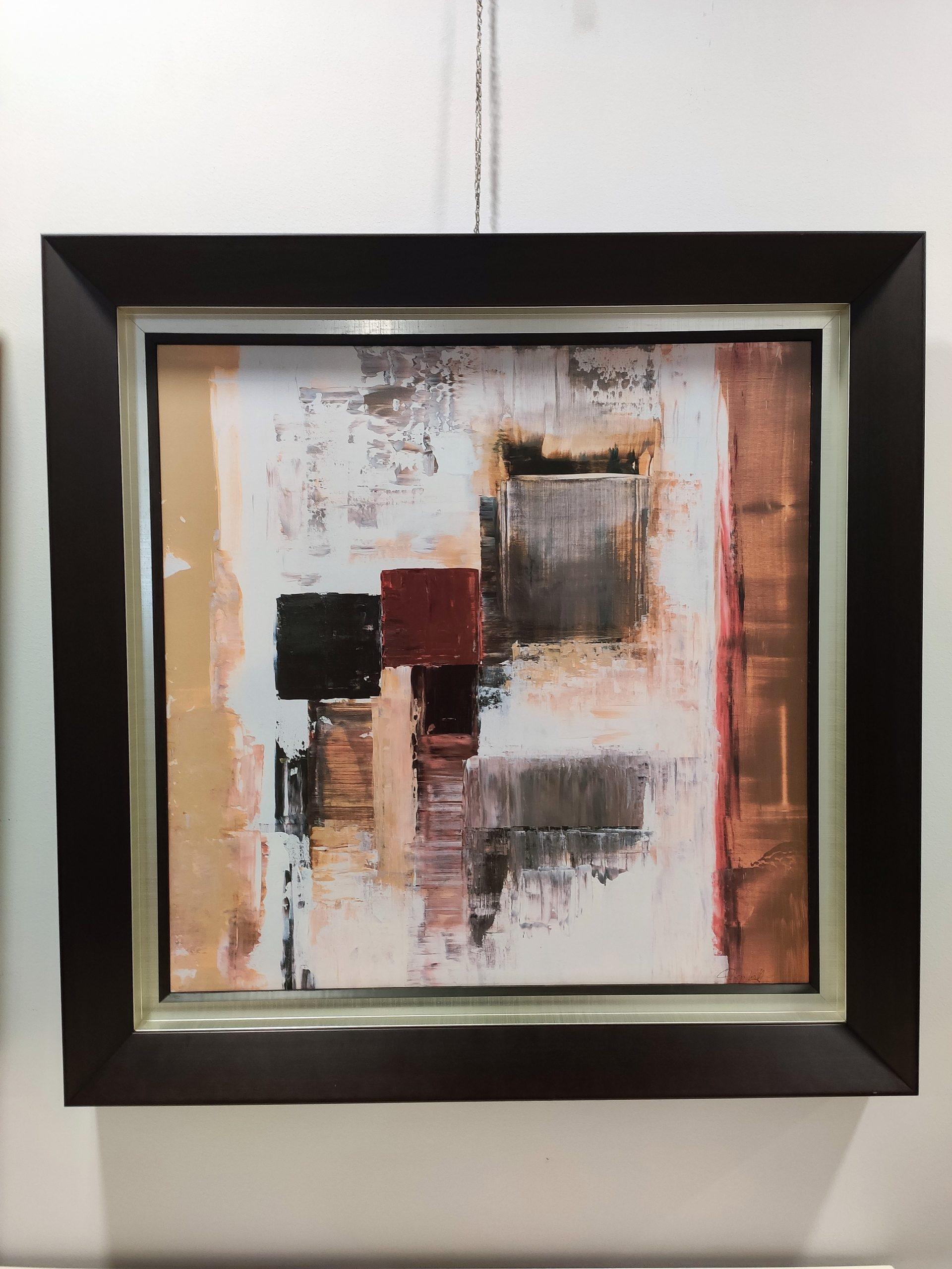 Quadro Quadrado Pintado Abstrato Com Moldura 5 scaled