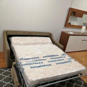 Sofa Cama 2 Lugares Castanho Bracos direitos 2