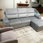 Sofa Chaise Lounge Veludo Cinza Miami