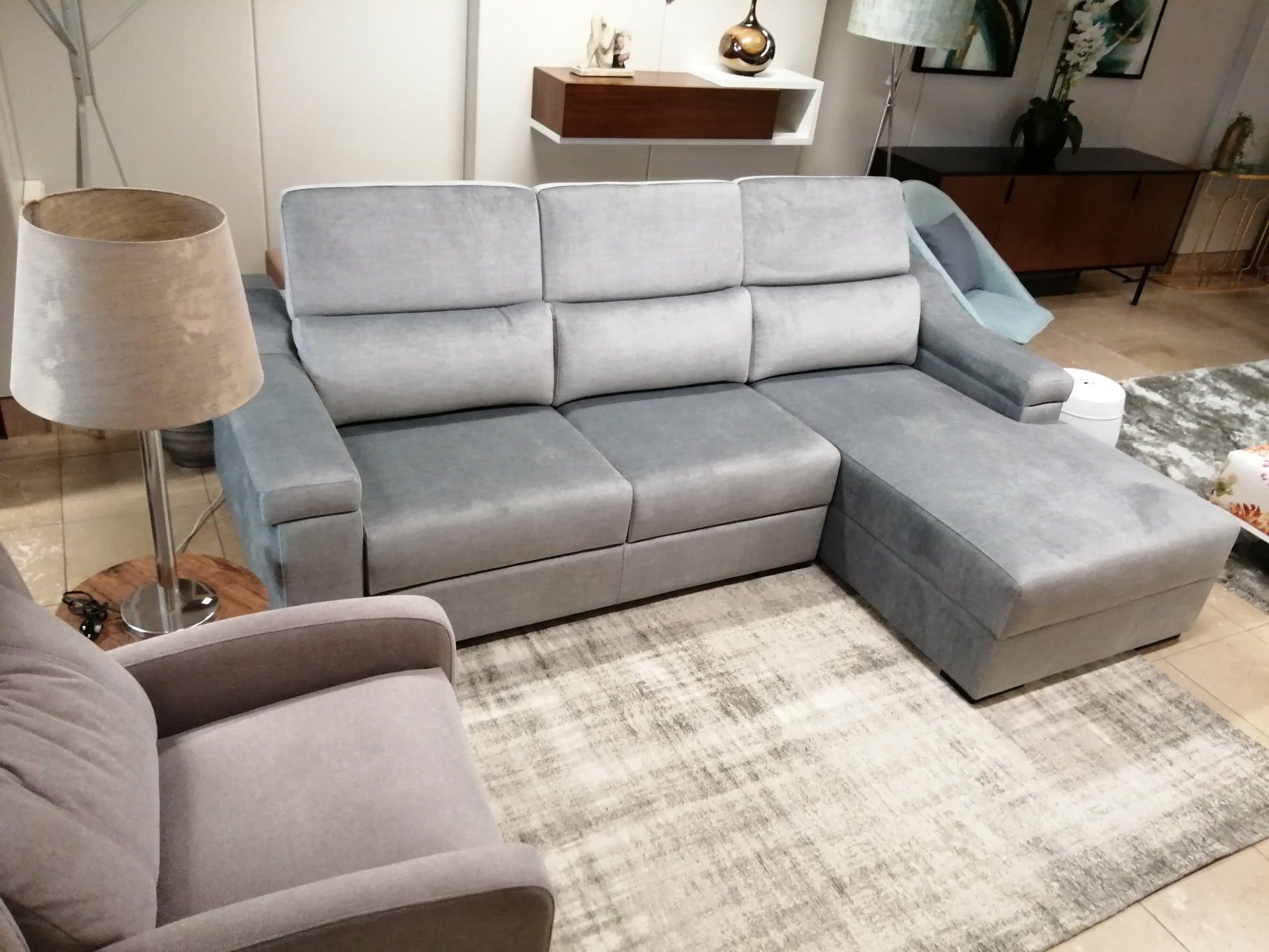 Sofa Chaise Lounge Veludo Cinza Miami