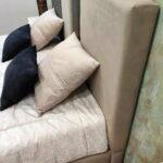 Cama de Casal Folds em tecido com cabeceira bicolor bege e castanho 2 scaled