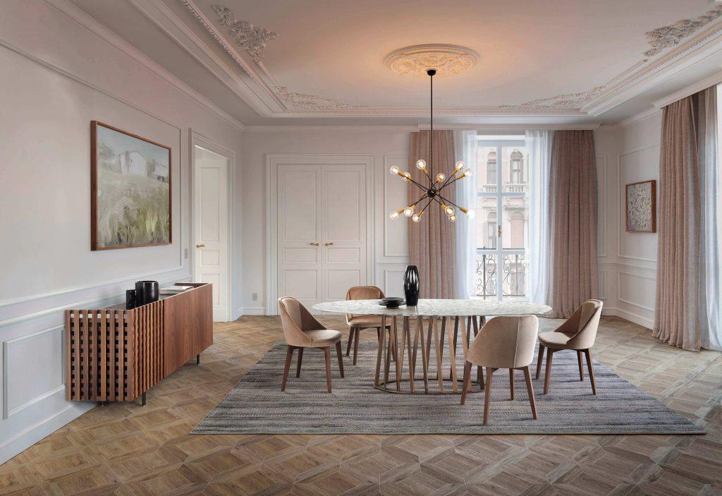 Chale Mesa de Jantar Oval Moderna com Pes Triangulares Metal Dourados e Tampo em Pedra ou Madeira