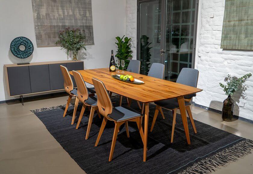 Combi Campina Sala de Jantar Mesa de Jantar Rectangular Madeira e Aparador Combi madeira e ferro