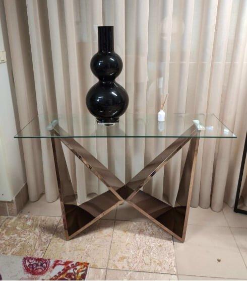 Consola com tampo de vidro e pes em metal gold rose Borboleta 3