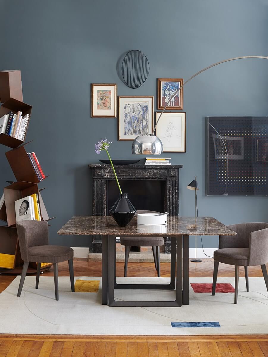 Indo Mesa de Jantar Quadrada com pe em metal preto ou madeira e tampo em pedra ou madeira