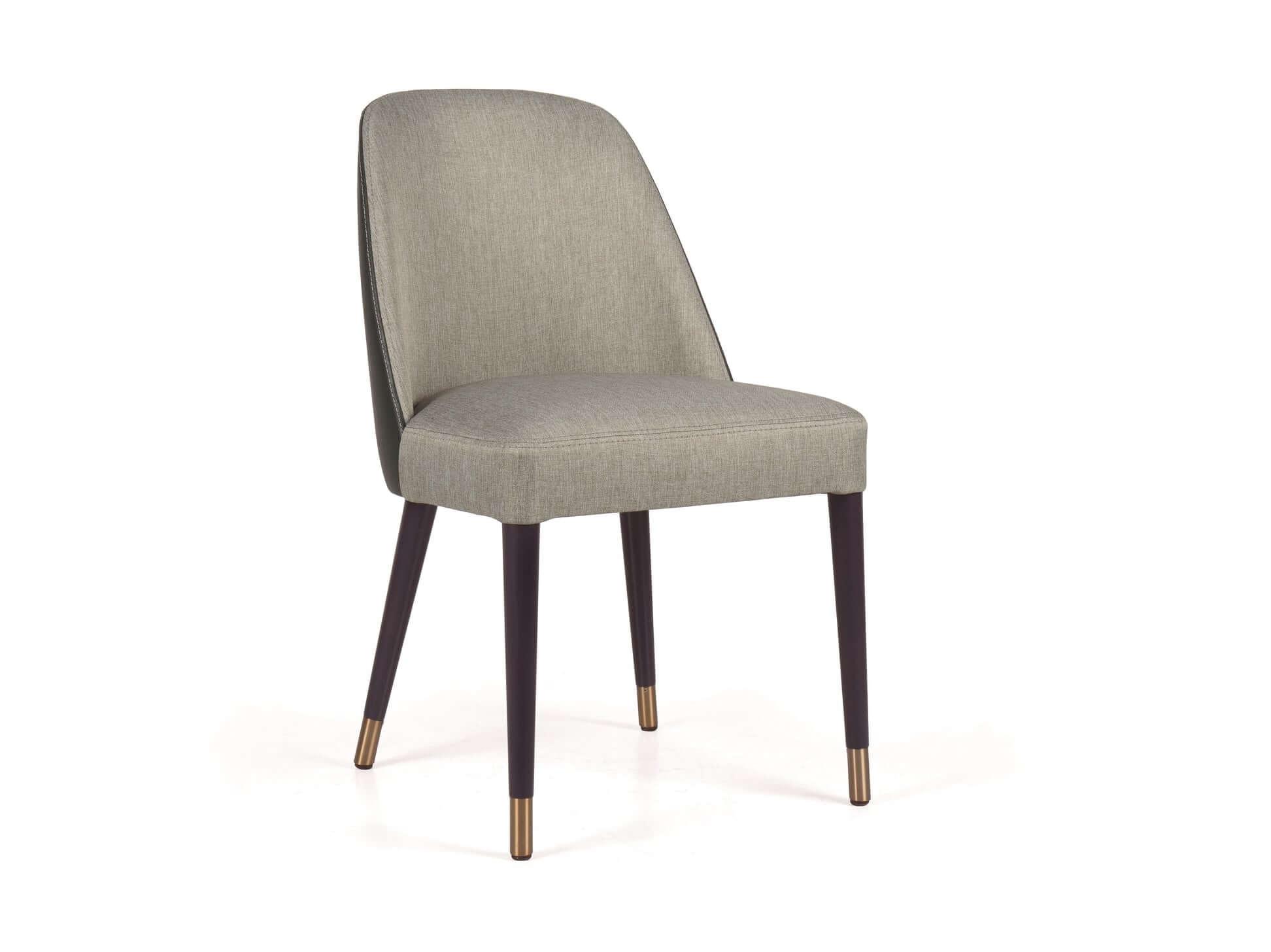 Cadeira Slim em tecido Cinza e Verde com pes pretos de pontas douradas