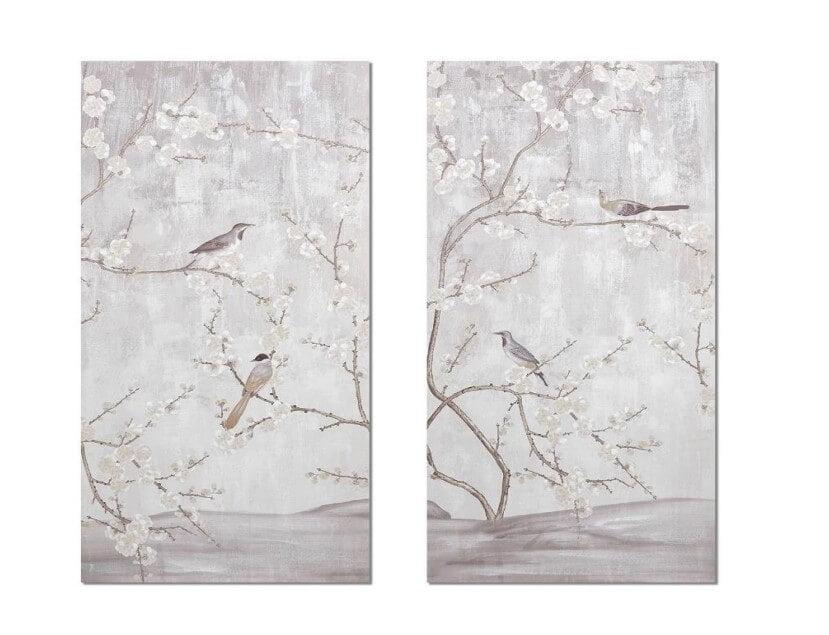 Conjunto de Quadros Amendoreiras com ramos e passaros em tons claros