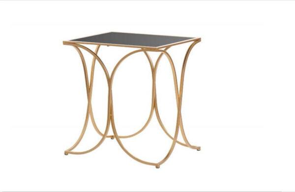 Mesa de Apoio Concha estrutura em metal dourado e tampo retangular preto