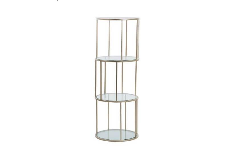 Mesa de Apoio Torre estrutura em metal cor broze com tampos vidro redondo