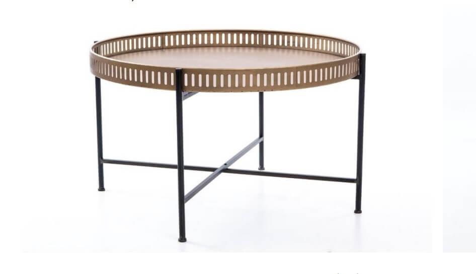 Mesa de Centro Alain Tampo redondo madeira clara e pes em Ferro