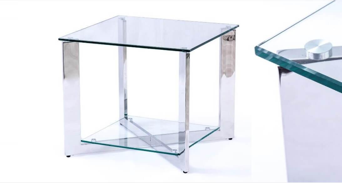 Mesa de Centro Aqua Quadrada tampo em vidro pes ferro