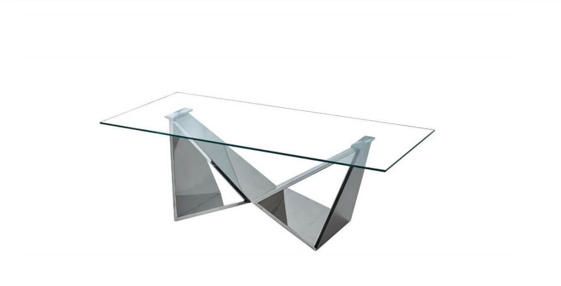 Mesa de Centro Borboleta tampo retangular vidro e pes em ferro