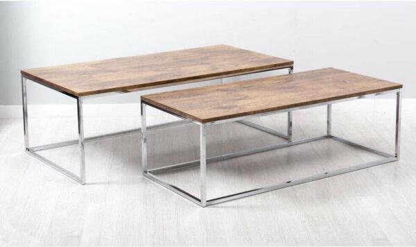 Mesa de Centro Retangulares Tampo em madeira e pes prateados em ferro