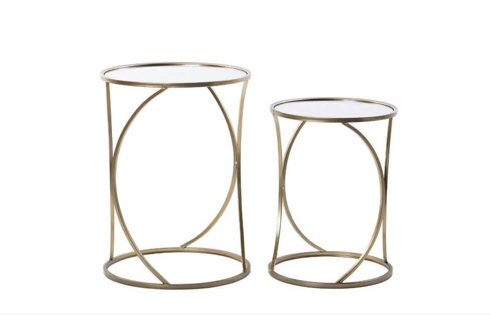 Mesas de Apoio Arco estrutura em metal cor bronze e tampo espelhados