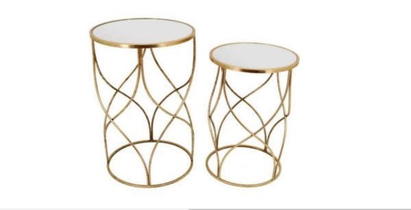 Mesas de Apoio Estrela conjunto de mesas douradas com tampo espelhado
