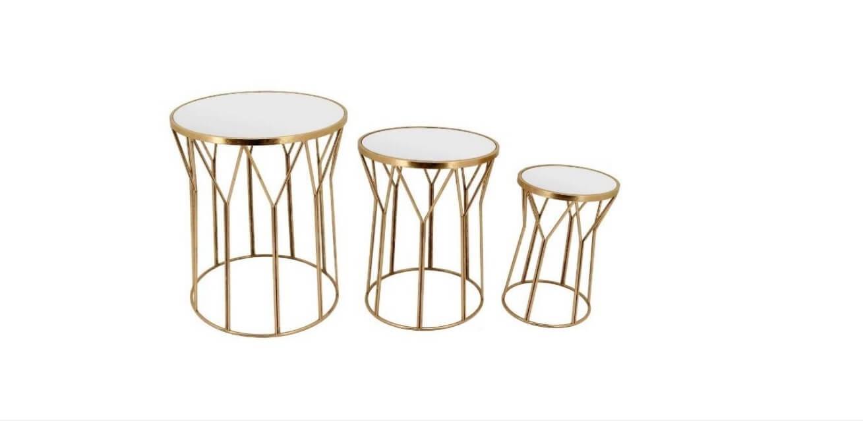 Mesas de Apoio Jambe comjunto de mesas em metal dourado e tampo espelhado redondo