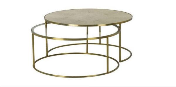 Mesas de Centro Luna conjunto de mesas douradas com tampo em vidro