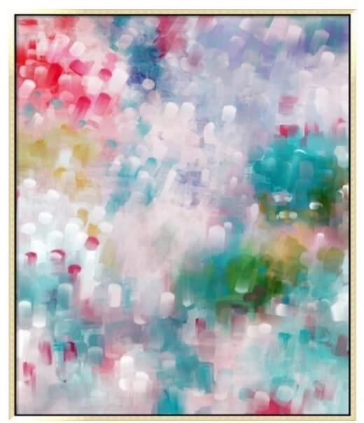 Quadro Abstrato Colorido em tons de rosabrancoamareloverders e azul