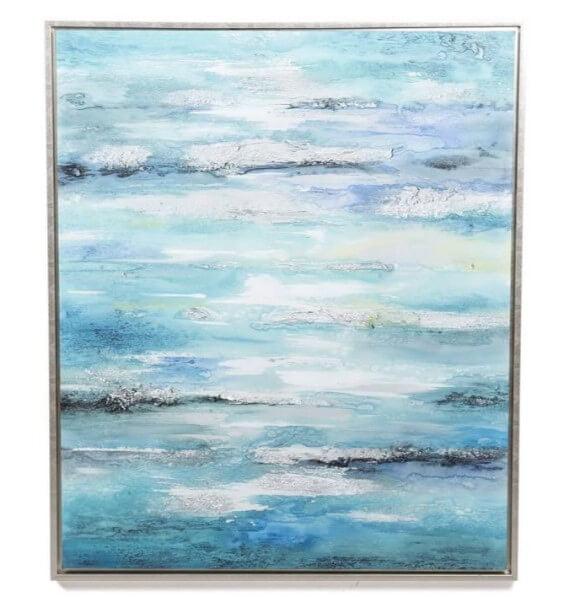 Quadro Abtrato Blue paisagem oceano ou ceu em tons de azul preto e branco