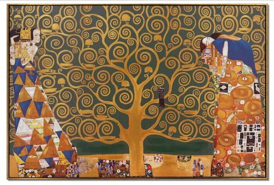 Quadro Pintura Oriental com figuras humanas e animais