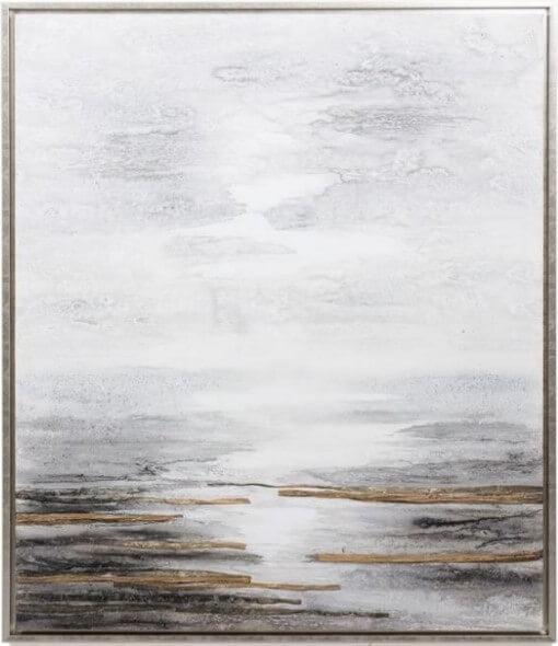 Quadro Reflexo Sol na Agua em tons de cinza branco e preto