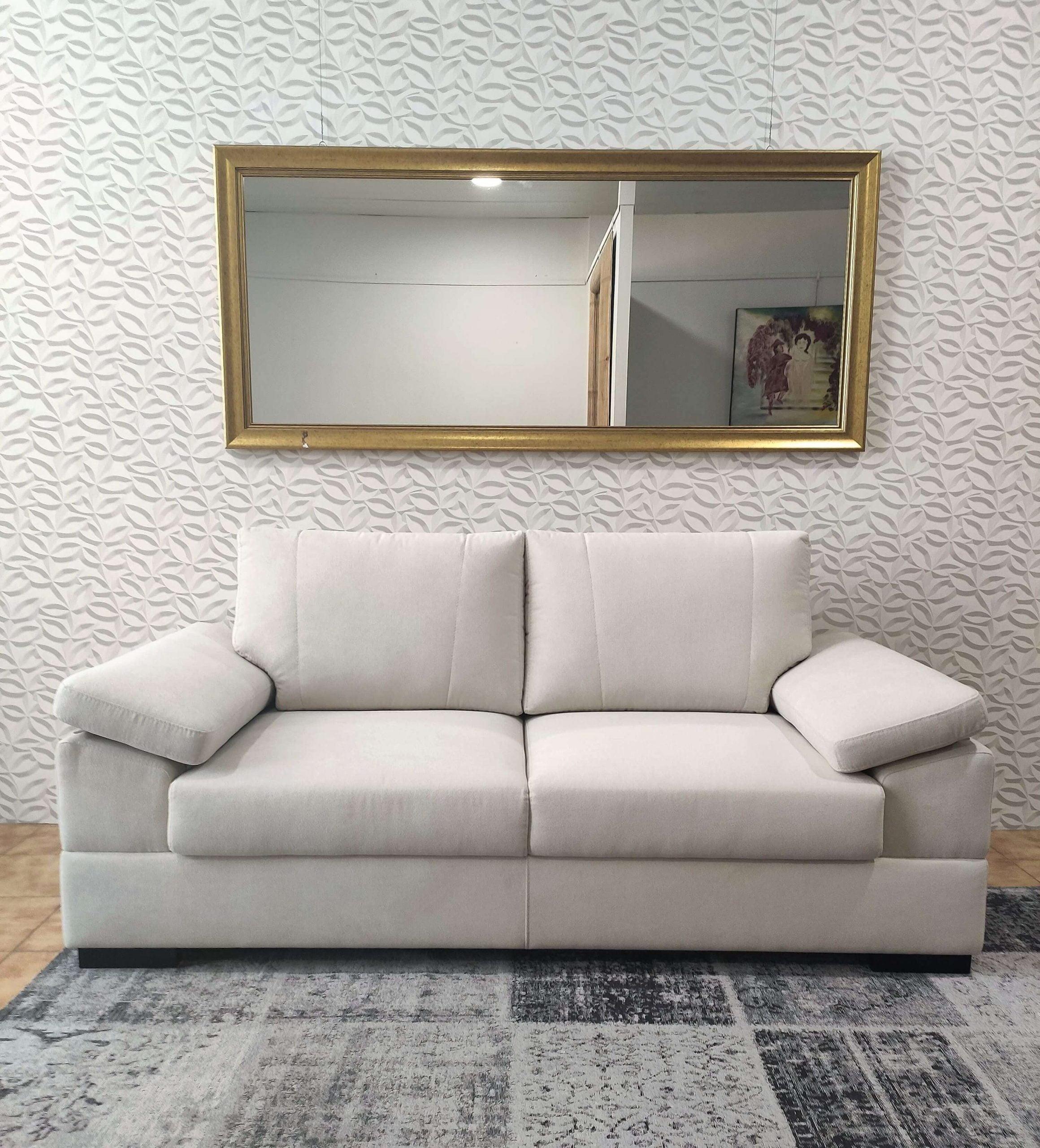 Sofa de 2 Lugares Tecido Branco Lisboa 1 scaled