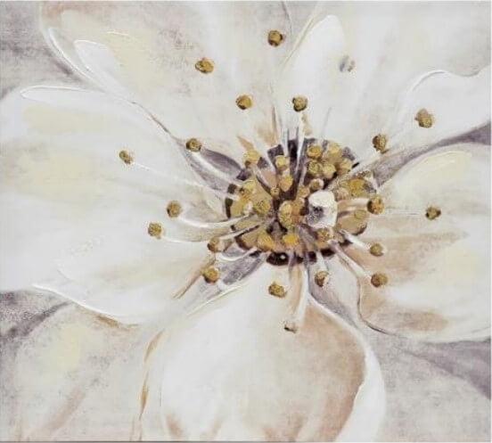 Tela com desenho de Flor em tons de bege branco e cinza