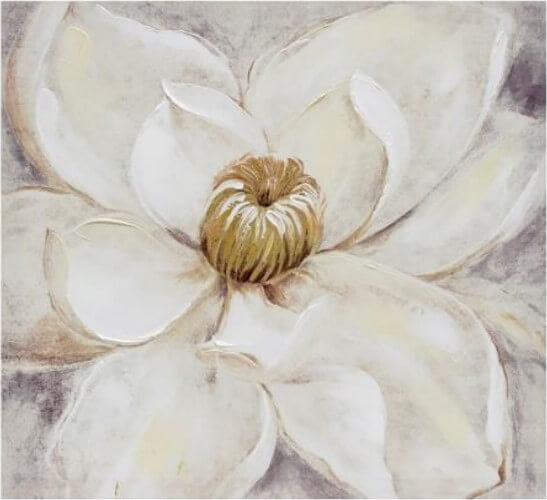 Tela de Flor em tons de bege branco e cinza