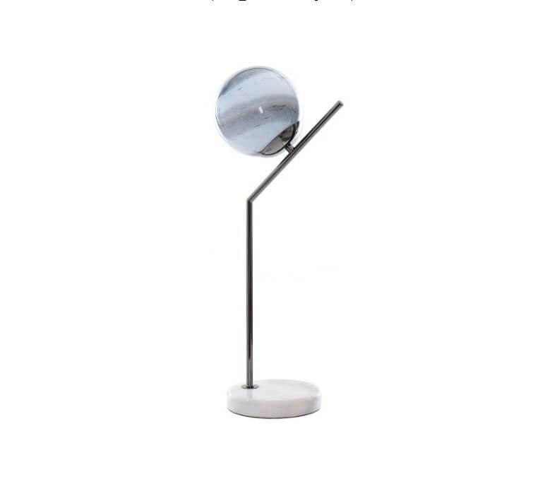 Berimbau Candeeiro de mesa em Metal com lampada e pe em marmore