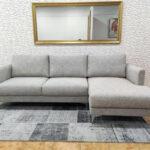 Bolema Sofa Chaise Lounge Lado direito em tecido cinza e pes altos em inox 3