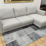 Bolema Sofa Chaise Lounge Lado direito em tecido cinza e pes altos em inox 5