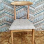Cadeira Vintade Madeira Castanho Claro e assento tecido mesclado bege 3