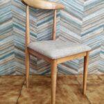 Cadeira Vintade Madeira Castanho Claro e assento tecido mesclado bege 4
