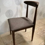 Cadeira Vintade Madeira Castanho Escuro e assento tecido cinza 2