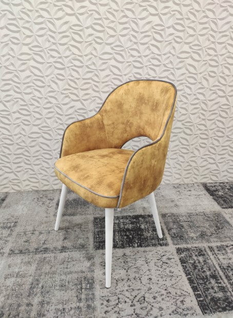 Cadeira de Bracos Mendi em tecido veludado amarelo e pes madeira pintada a branco 3